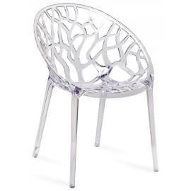 Réplica da cadeira de cristal transparente ao ar livre