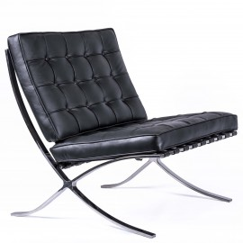 Réplica premium silla Barcelona en piel italana