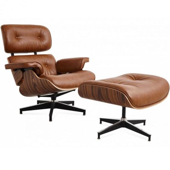 Réplica sillón Eames Lounge Chair en polipiel desgastada