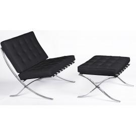 Cadeira Barcelona Chair HQ com Otomano em couro granulado