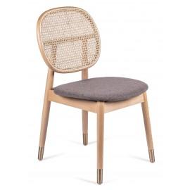 Cadeira Marsh em Rattan Natural e Almofada de Algodão Estilo Vintage