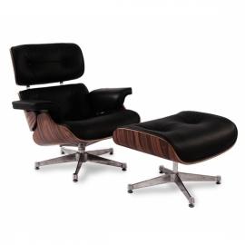 Réplica del sillón Eames en polipiel y base cromada de Charles & Ray