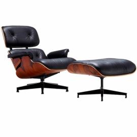 James Lounge Chair em couro granulado e jacarandá