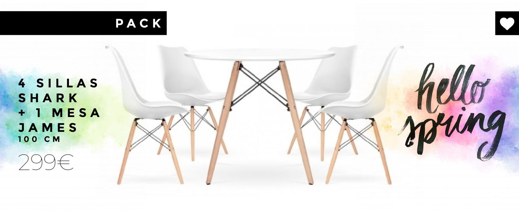 Combinación de 4 sillas Shark inspiradas en la famosa silla DSW