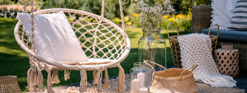 Designer hanging chairs for garden and interior.