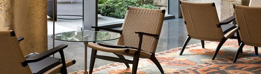 Replicas of Scandinavian wooden armchairs