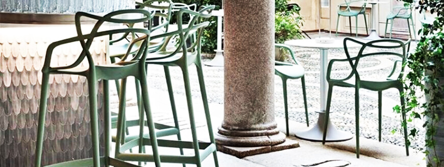 Replicas of designer garden furniture such as the Masters chair by Philippe Starck.