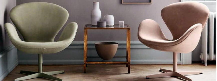 Replicas of swivel chairs such as the Swan chair by Arne Jacobse.