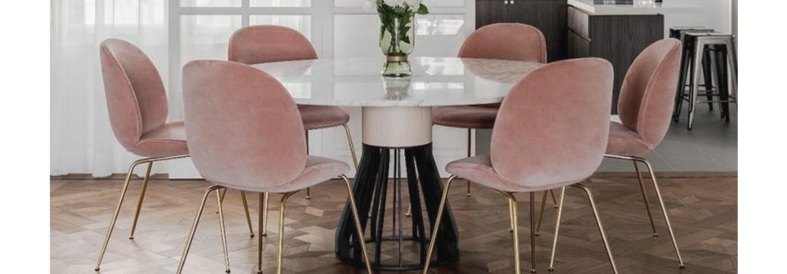 Inspiration Beetle Chair in Pink Velvet by designers GamFratesi