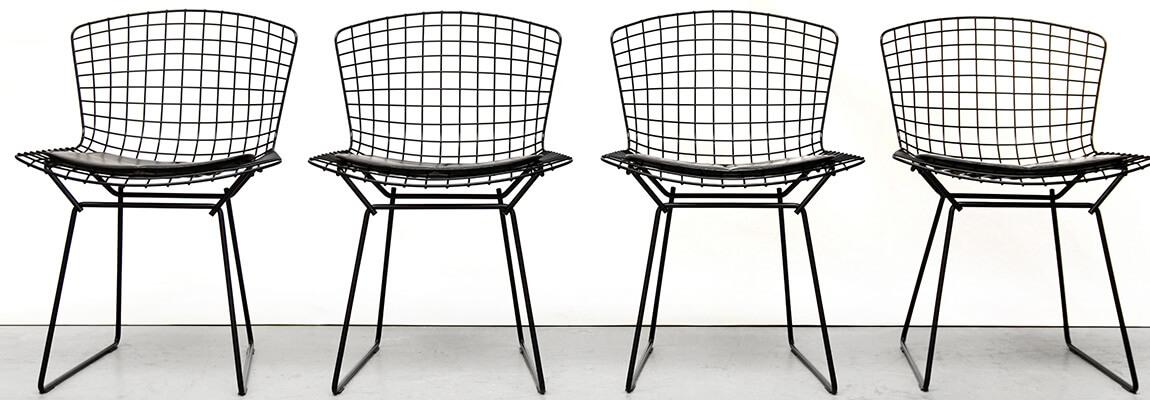 Replica of the Bertoia chair in black steel by Harry Bertoia