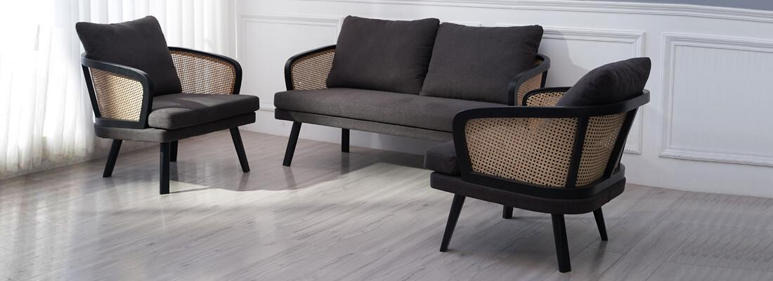 Fauteuil Leeds en rotin naturel et coussin en coton de style vintage idéal pour le salon.