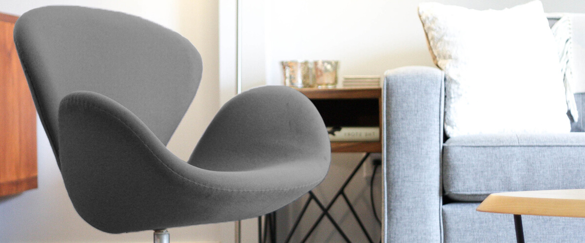 Replica of the Swan Chair in cashmere by Arne Jacobsen