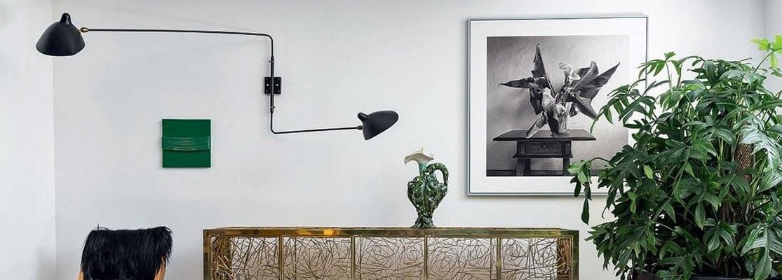 Inspiración de la lámpara de aplique Mouille de 2 brazos del famoso diseñador Serge Mouille