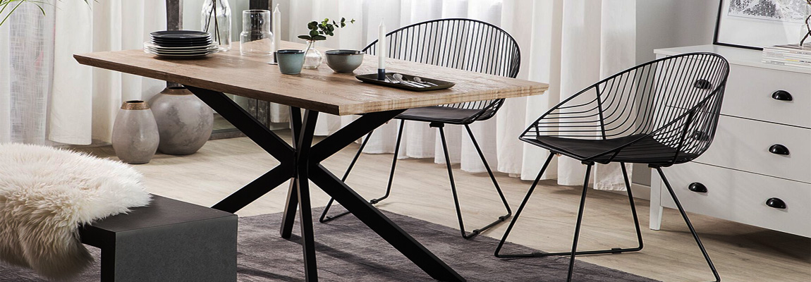 Industrial rectangular Table in oak wood and steel legs