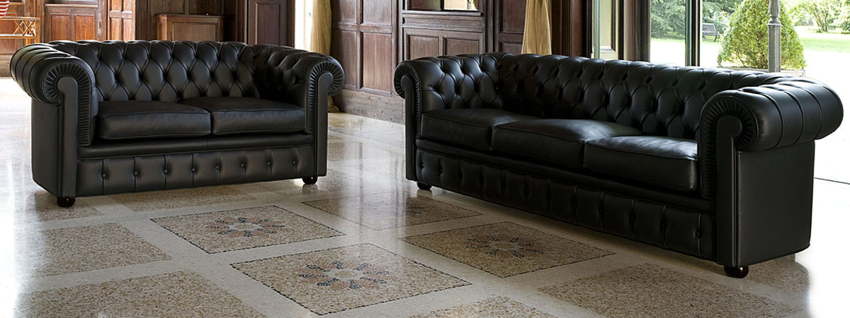 Set divano retro Chesterfield nero