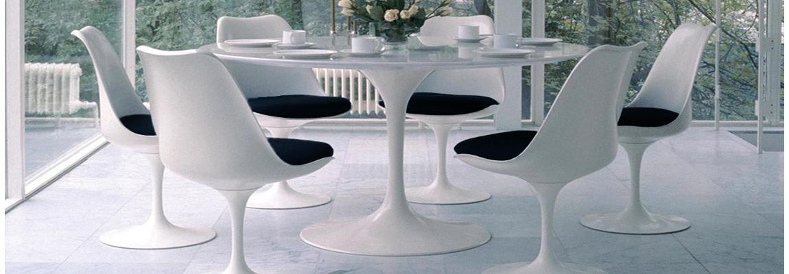 Tavolo da pranzo Tulip di 120 cm in legno bianco di Eero Saarinen per Knoll