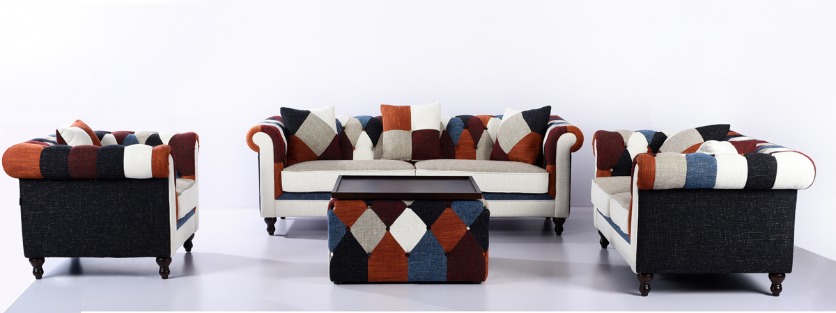 Set divano chesterfield Patchwork a due posti