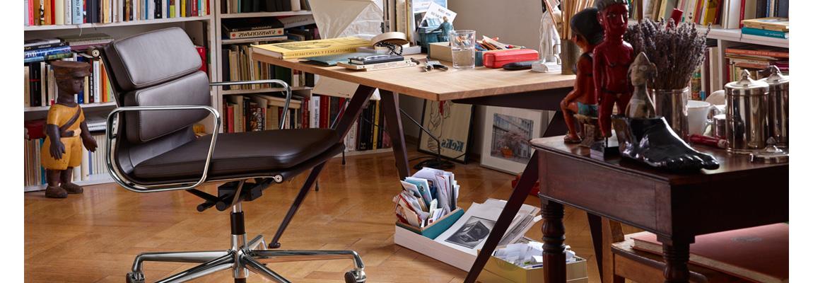 Replik des Soft Pad Bürostuhls aus gealtertem Vintage Leder