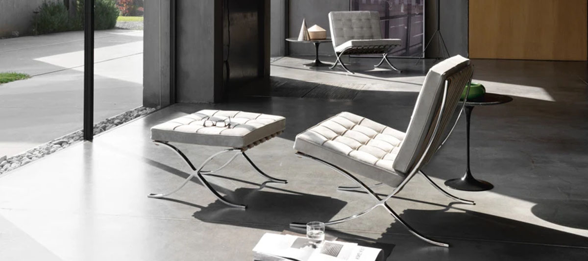 Barcelona Chair with Footrest by designer Mies Van Der Rohe