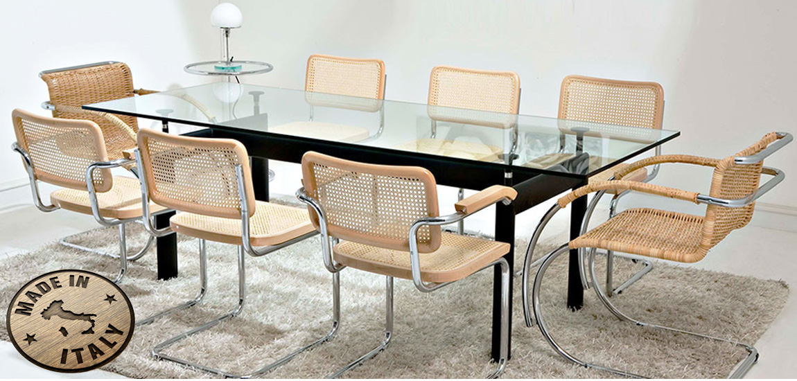 Le Corbusier LC6 Dining Table with Cesca Chair from designer Marcel Breuer