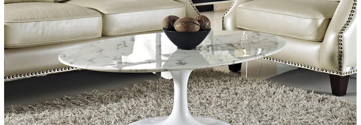 Tulip designer coffee table in marble carrara by the designer Eero Saarinen